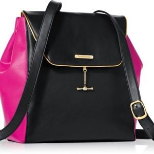 Juicy Couture Black Hot Pink Faux Leather Backpack
